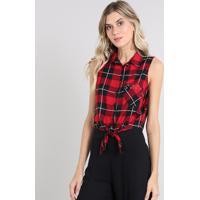 Camisa Feminina Estampada Xadrez Com Ilhós E Amarração Sem Mangas Vermelha