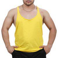Camiseta Regata Super Cavada Academia Masculino Amarelo
