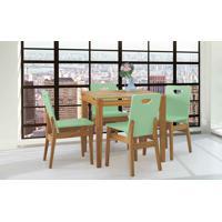 Conjunto De Mesa De Jantar Com 4 Cadeiras Tucupi 80Cm - Acabamento Stain Nózes E Verde Sálvia