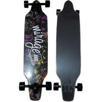 Skate Longboard Simulador Surf Truck Invertido Assimétrico Preto/Roxo