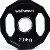 Anilha Poliuretano Wellness - Furação Olímpica - 12 Faces Com Pegadas - 2,50Kg - Unissex