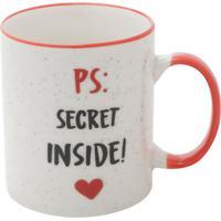 """Caneca De Porcelana """"Secret Inside""""- Branca & Vermelha"""