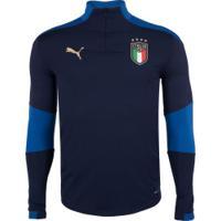 Blusão Itália Training 1/4 Zip Puma - Masculino - Azul Esc/Azul