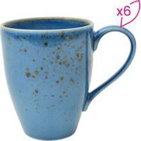 Jogo De Canecas Nature Blue Em Porcelana- Azul & Marrom