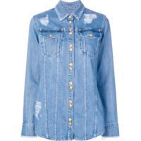 Balmain Camisa Jeans Com Efeito Desgastado - Azul
