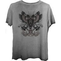 Camiseta Estonada Corte A Fio Estampada Costas Caveira Simbolo