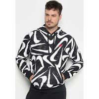Blusão Nike Nsw Club Hoodie Canguru Masculino - Masculino-Preto+Branco