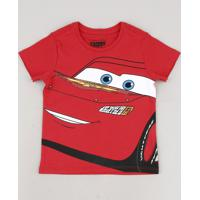 Camiseta Infantil Relâmpago Mcqueen Manga Curta Vermelho