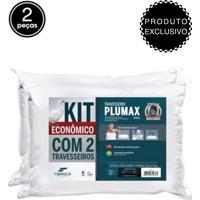 Kit 2Pçs Travesseiros Fibrasca Plumax Percal 50X70Cm Branco