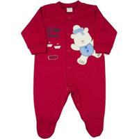 Macacão Bebê Suedine Urso Little Friends Ano Zero - Unissex-Vermelho