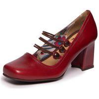 Sapato Vintage Em Couro Vermelho - Amora/ Chocolate 6009