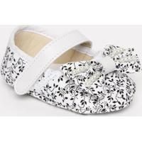 Sapato Boneca Floral Com Laã§O- Branco & Preto- Ticcotico Baby