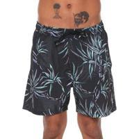 Bermuda Quiksilver Boardshort Salty Palms Volley 18 - Masculino-Preto+Verde