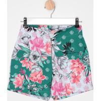 Short Floral- Verde & Rosa- Malweemalwee