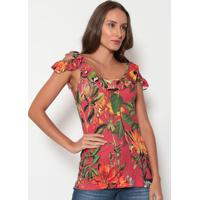 Blusa Floral Com Babado- Vermelha & Verde- Tritontriton
