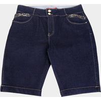Shorts Jeans Xtra Charmy Plus Size Ciclista Detalhe Camuflado Feminino - Feminino-Azul
