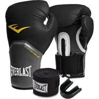 Kit Boxe Elite Everlast 16Oz Preta - Unissex