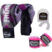 Kit Boxe Muay Thai Fheras New Top Luva + Bandagem Iron Rosa 006