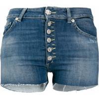 Dondup Short Jeans Mila Com Vazado - Azul