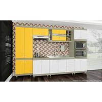 Cozinha Modulada Completa Com 5 Módulos Retrô Ball Corda/Amarelo/Branco - Urbe Móveis
