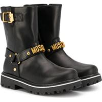 Moschino Kids Ankle Boot Com Logo - Preto