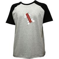 Camiseta Alkary Raglan Manga Curta Canivete Suiço Mescla E Preta