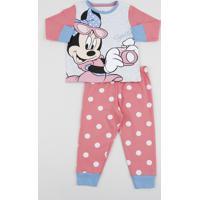 Pijama Infantil Minnie Manga Longa Cinza