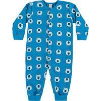 Pijama Bebê Macacão Longo Boca Grande Ursinho - Masculino-Azul
