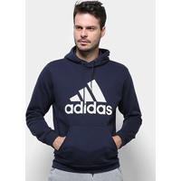 Blusa Moletom Adidas Capuz Masculina - Masculino-Marinho+Branco