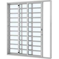 Porta De Alumínio De Correr Alumifort Branca Com Divisão 3 Folhas Abertura Esquerda 216X200X12 - Sasazaki - Sasazaki