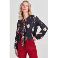 Blusa Floral Rubinella Dark Feminina - Feminino-Marinho+Vermelho
