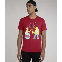 Camiseta Masculina Duff Beer Os Simpsons Manga Curta Gola Careca Vermelha