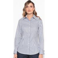 Camisa Listrada Com Recortes - Branca & Azul Escurodudalina
