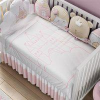 Manta Bebê Rosa Branco Tricot Castelo 1M Gráo De Gente Rosa