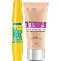 Kit Máscara Maybelline Colossal À Prova D'Água + Bb Cream L'Oréal Paris Clara - Feminino-Preto
