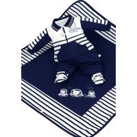 Saída De Maternidade Beth Bebê Miguel Luxo Azul Marinho