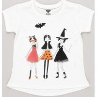Blusa Infantil Halloween Com Tule Manga Curta Off White