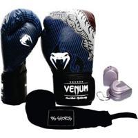 Kit Boxe Muaythai Venum Tiger Legend 16Oz + Bandagem + Bucal - Unissex
