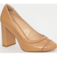 Sapato Em Couro Com Micro Furos- Bege Escuro- Salto:Capodarte
