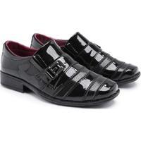 Sapato Social Infantil 443 Verniz Metal Confortável Macio - Masculino-Preto
