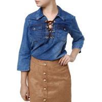 Blusa Cambos Jeans Manga 3/4 - Feminino-Azul