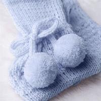 Sapatinho Bebê Menino Tricot Pompom Azul Grão De Gente Azul