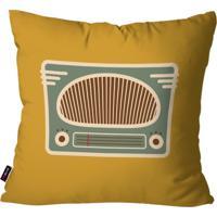 Almofada Decorativa Avulsa Ocre Retrô Rádio Antigo 45X45Cm