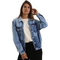 Jaqueta Jeans Equivoco Nets Feminina - Feminino-Azul