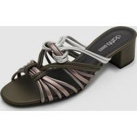 Tamanco Dafiti Shoes Tiras Metalizadas Verde/Prata - Verde - Feminino - Dafiti