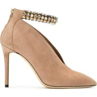 Jimmy Choo Sapato 'Lux' De Nobuck - Ballet Pink/Crystal