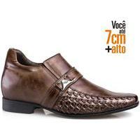 Sapato Social Couro Rafarillo Masculino Salto 7Cm Conforto Conhaque