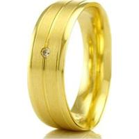 Aliança De Casamento Feminina Em Ouro 18K 5,4Mm Acabamento Liso E Fosco Wm Jóias - Feminino-Dourado