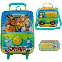 Kit Mochila Xeryus Scooby Doo Máquina Misteriosa De Rodinhas Com Lancheira E Estojo - Unissex-Verde Limão