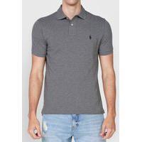 Camisa Polo Polo Ralph Lauren Slim Logo Cinza